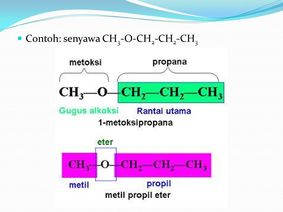 Contoh: senyawa CH3-O-CH2-CH2-CH3