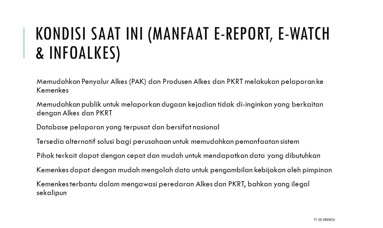 Kondisi saat ini (Manfaat e-report, E-watch & Infoalkes)
