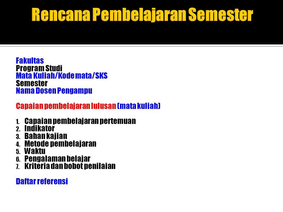 Rencana Pembelajaran Semester