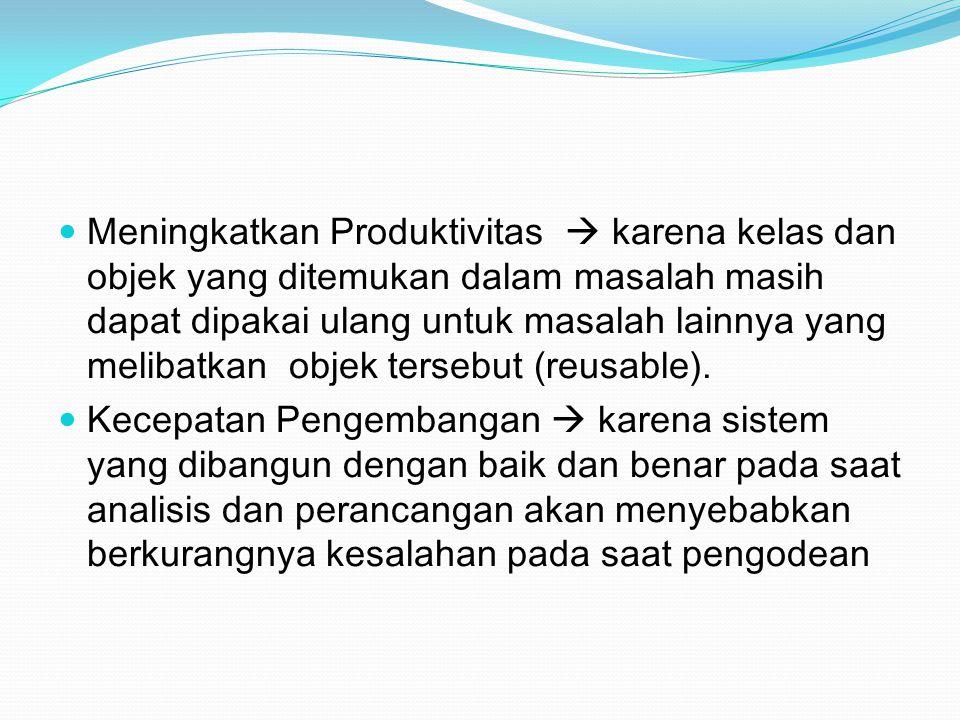 Meningkatkan Produktivitas  karena kelas dan objek yang ditemukan dalam masalah masih dapat dipakai ulang untuk masalah lainnya yang melibatkan objek tersebut (reusable).