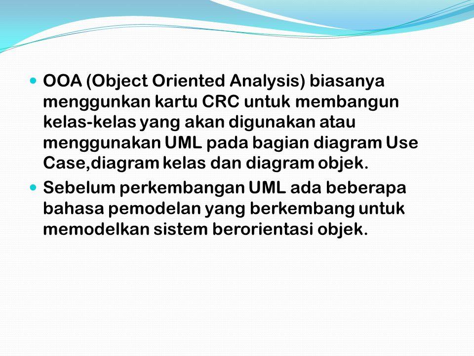 OOA (Object Oriented Analysis) biasanya menggunkan kartu CRC untuk membangun kelas-kelas yang akan digunakan atau menggunakan UML pada bagian diagram Use Case,diagram kelas dan diagram objek.