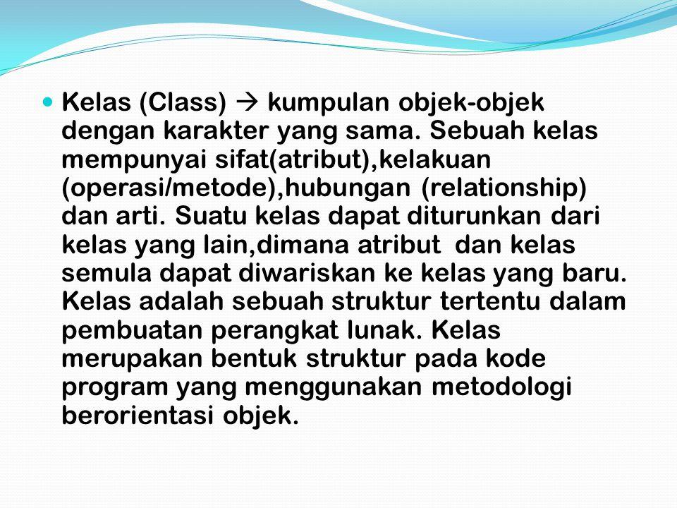 Kelas (Class)  kumpulan objek-objek dengan karakter yang sama