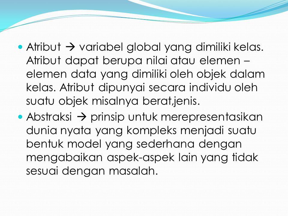 Atribut  variabel global yang dimiliki kelas