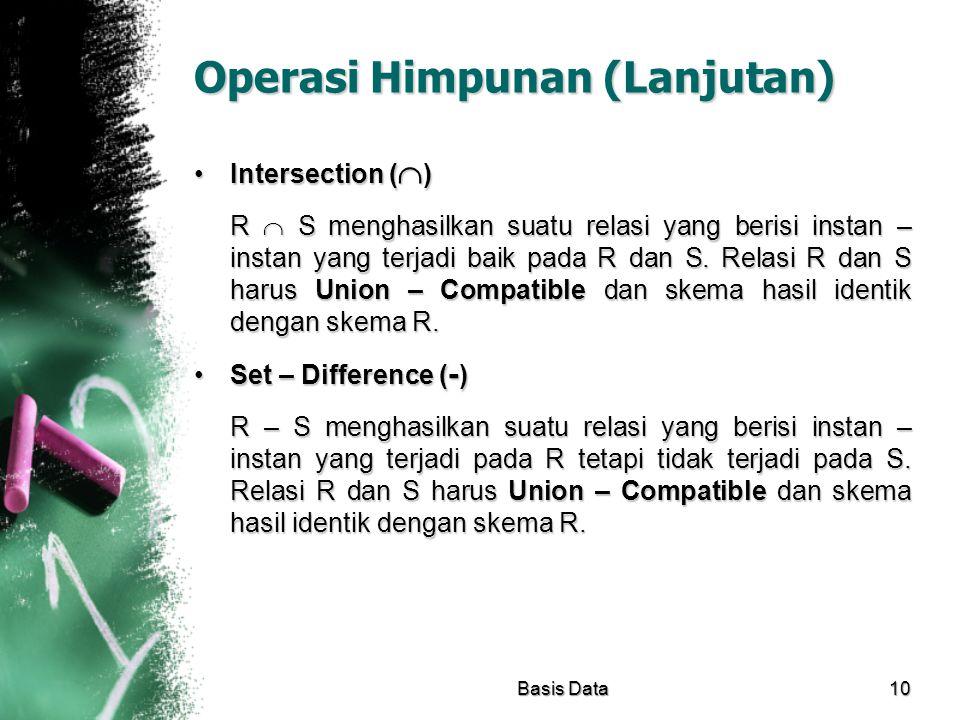 Operasi Himpunan (Lanjutan)