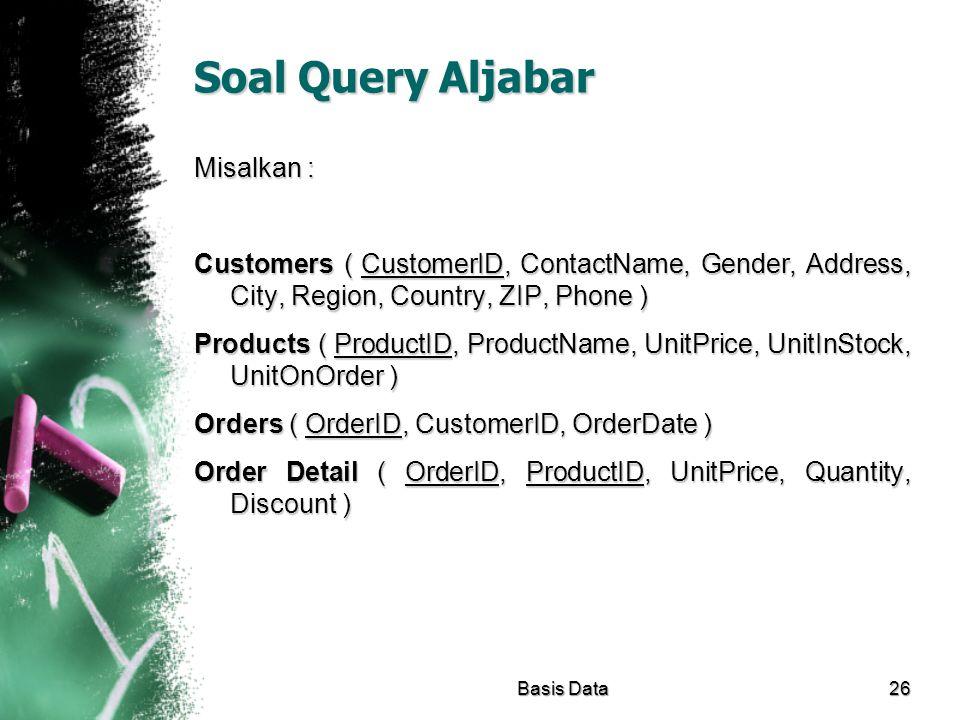 Soal Query Aljabar