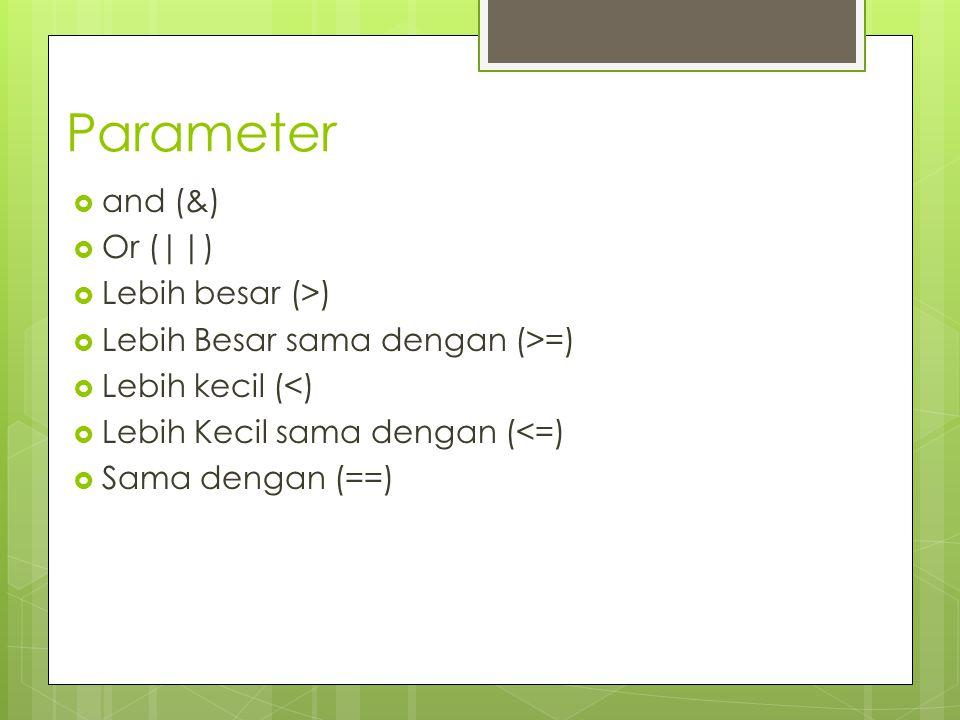 Parameter and (&) Or (||) Lebih besar (>)