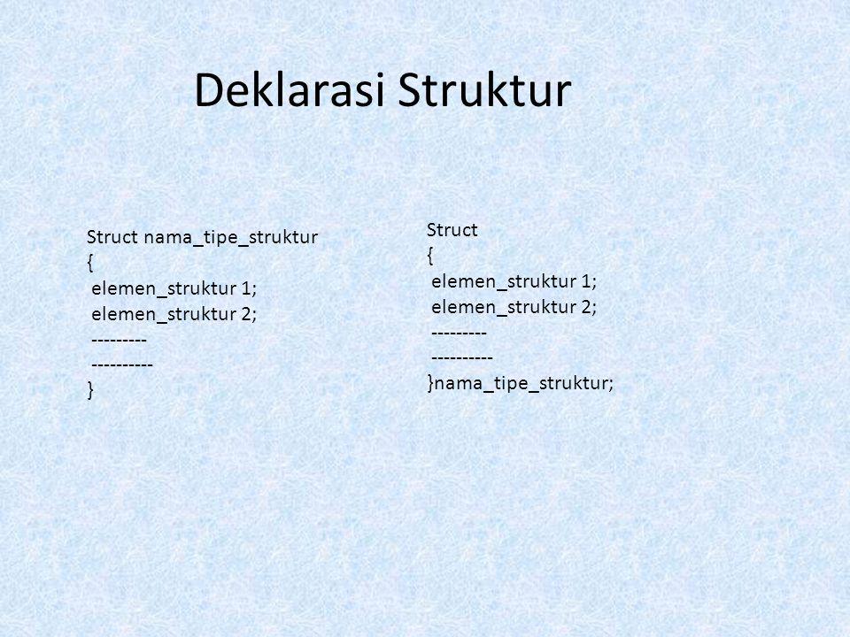 Deklarasi Struktur Struct Struct nama_tipe_struktur { {