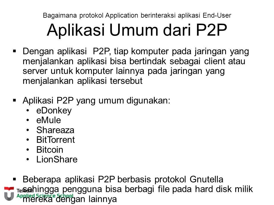 Aplikasi P2P yang umum digunakan: eDonkey eMule Shareaza BitTorrent