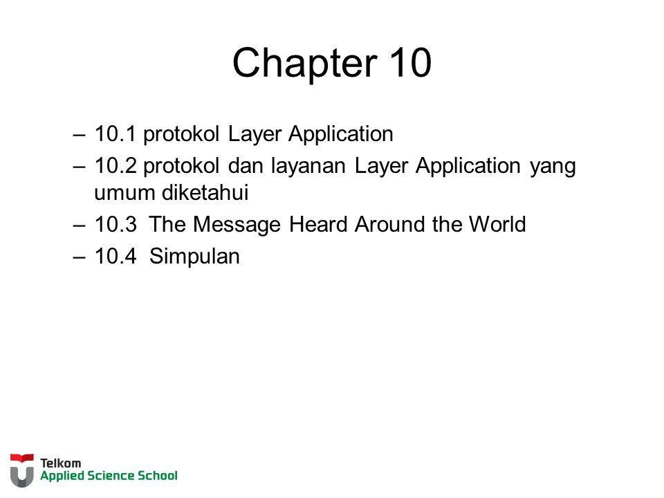 Chapter 10 10.1 protokol Layer Application