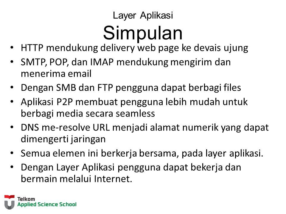 Layer Aplikasi Simpulan