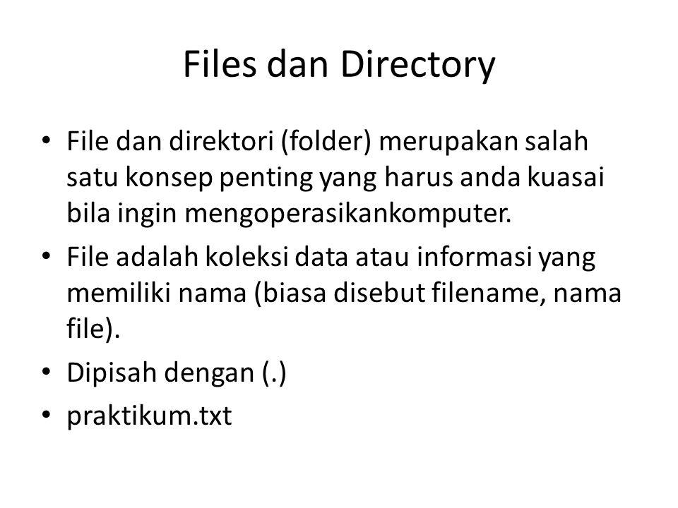 Files dan Directory File dan direktori (folder) merupakan salah satu konsep penting yang harus anda kuasai bila ingin mengoperasikankomputer.