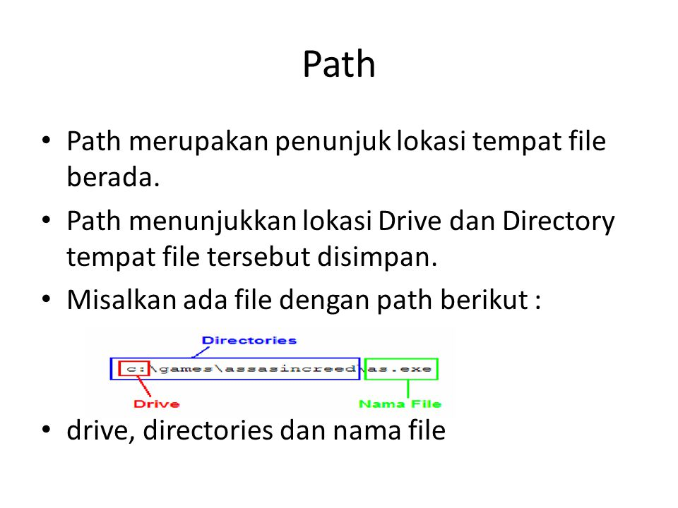 Path Path merupakan penunjuk lokasi tempat file berada.