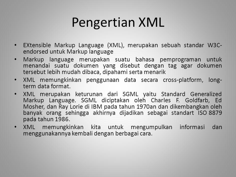 Pengertian XML EXtensible Markup Language (XML), merupakan sebuah standar W3C-endorsed untuk Markup language.