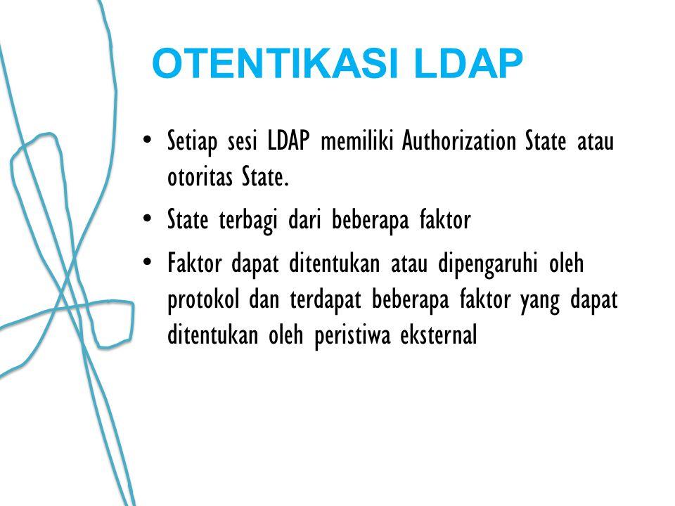 OTENTIKASI LDAP Setiap sesi LDAP memiliki Authorization State atau otoritas State. State terbagi dari beberapa faktor.