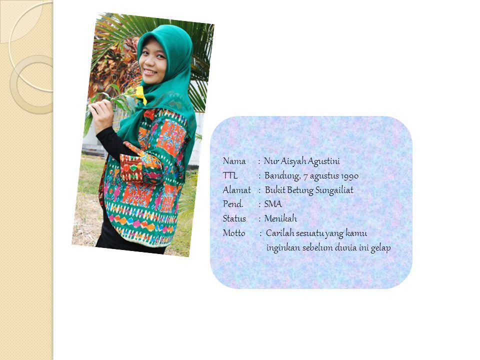 Nama : Nur Aisyah Agustini