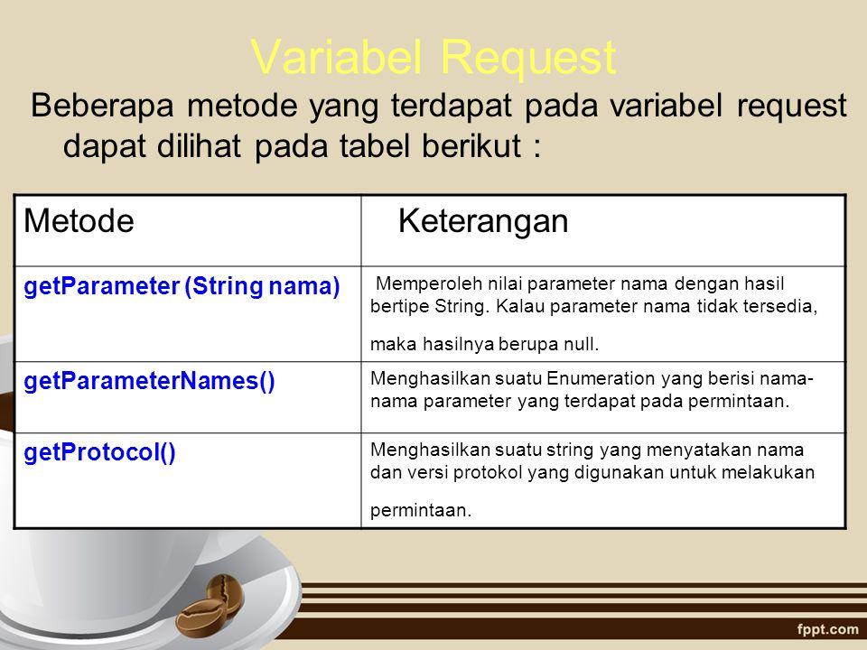 Variabel Request Beberapa metode yang terdapat pada variabel request dapat dilihat pada tabel berikut :