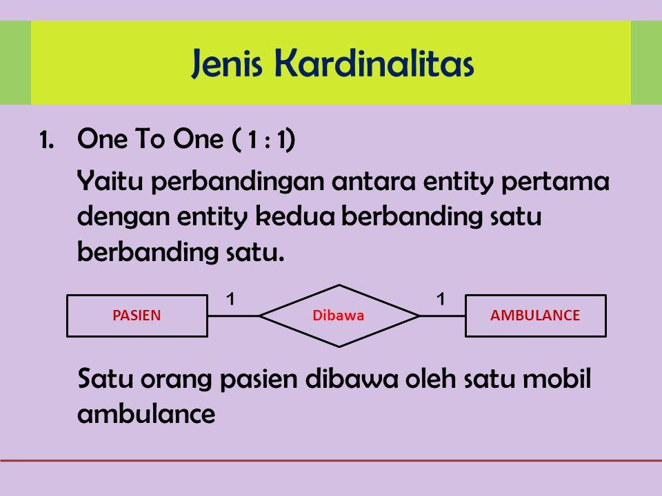 Jenis Kardinalitas One To One ( 1 : 1)