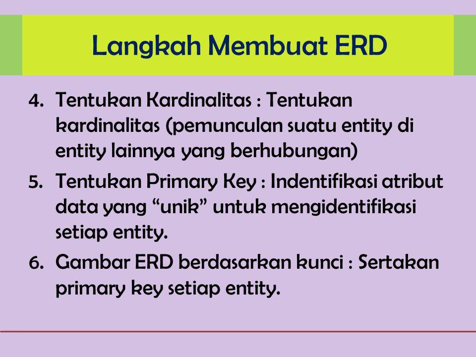 Langkah Membuat ERD Tentukan Kardinalitas : Tentukan kardinalitas (pemunculan suatu entity di entity lainnya yang berhubungan)