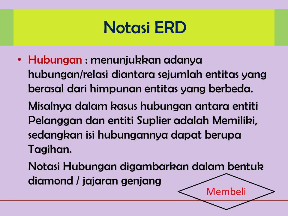 Notasi ERD Hubungan : menunjukkan adanya hubungan/relasi diantara sejumlah entitas yang berasal dari himpunan entitas yang berbeda.