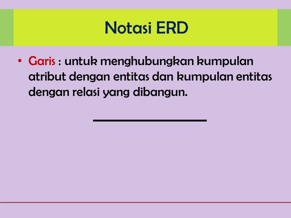Notasi ERD Garis : untuk menghubungkan kumpulan atribut dengan entitas dan kumpulan entitas dengan relasi yang dibangun.