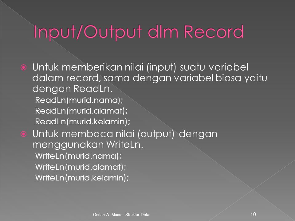 Input/Output dlm Record