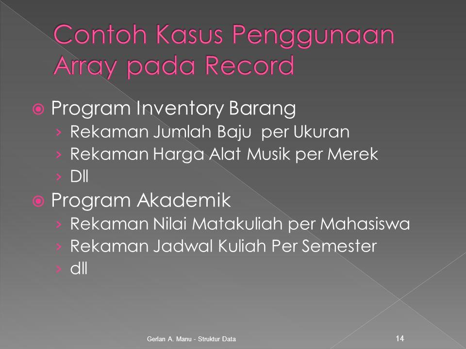 Contoh Kasus Penggunaan Array pada Record