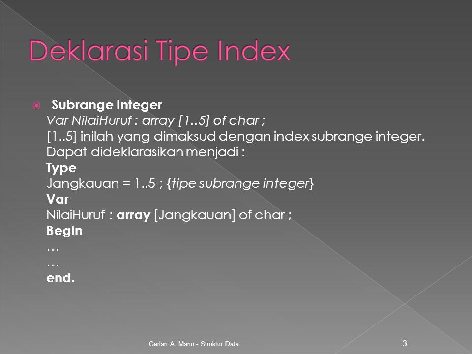 Deklarasi Tipe Index Subrange Integer
