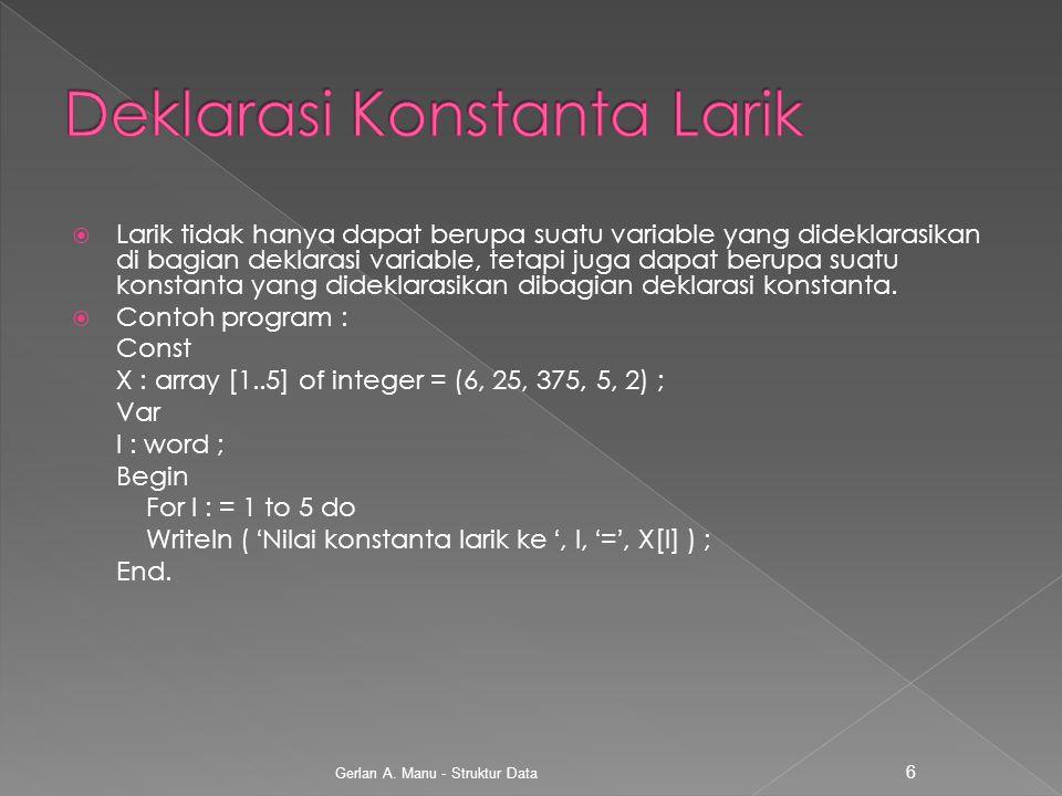 Deklarasi Konstanta Larik