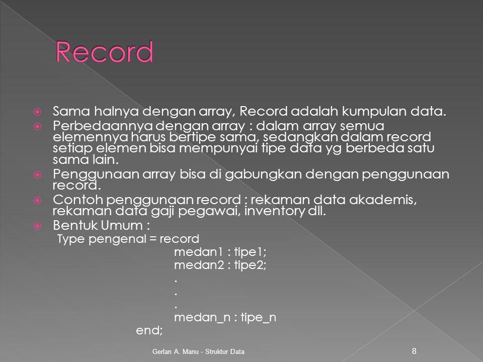 Record Sama halnya dengan array, Record adalah kumpulan data.