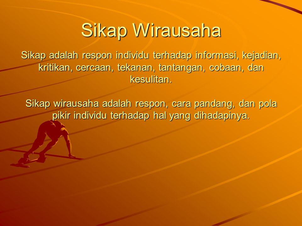 Sikap Wirausaha Sikap adalah respon individu terhadap informasi, kejadian, kritikan, cercaan, tekanan, tantangan, cobaan, dan kesulitan.