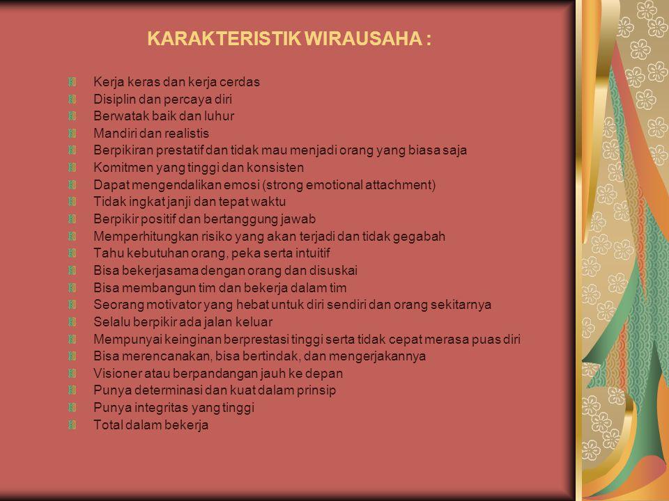 KARAKTERISTIK WIRAUSAHA :