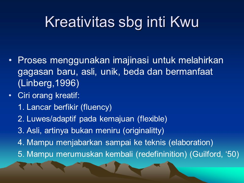 Kreativitas sbg inti Kwu
