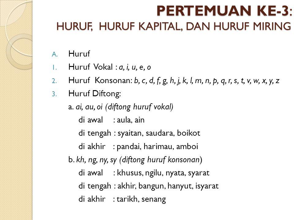 PERTEMUAN KE-3: HURUF, HURUF KAPITAL, DAN HURUF MIRING