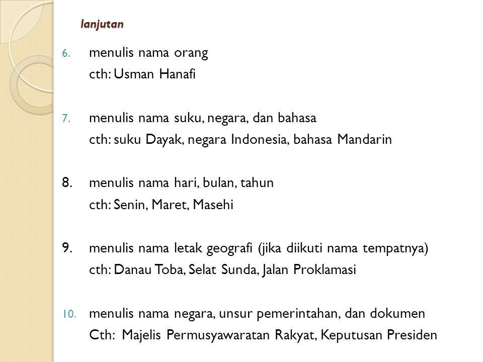 menulis nama suku, negara, dan bahasa