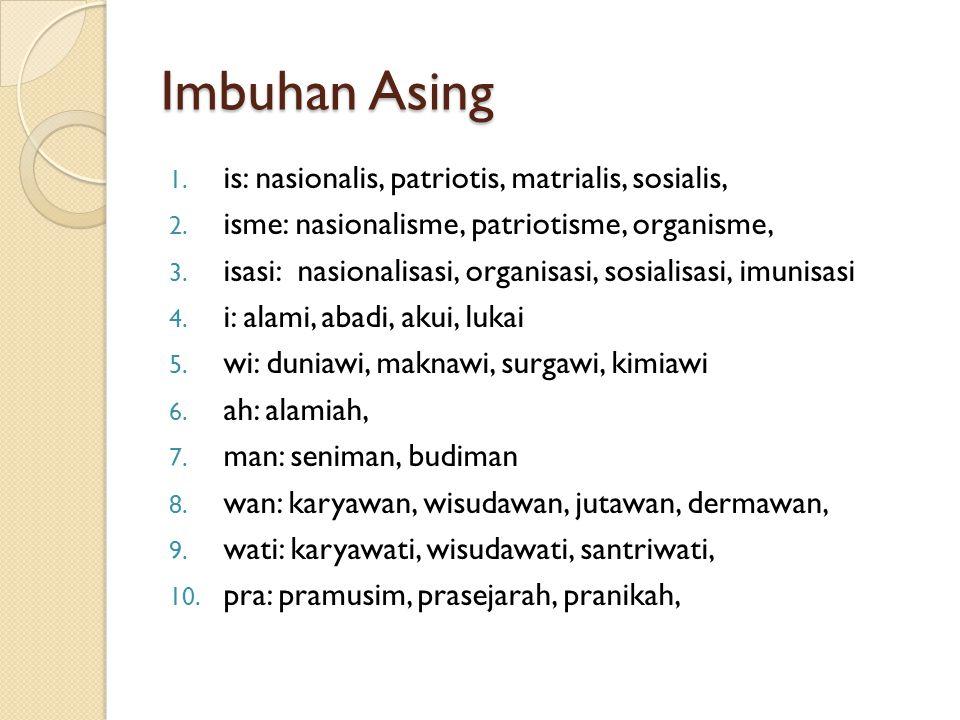 Imbuhan Asing is: nasionalis, patriotis, matrialis, sosialis,
