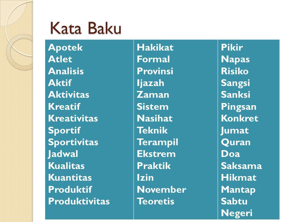 Kata Baku Apotek Atlet Analisis Aktif Aktivitas Kreatif Kreativitas