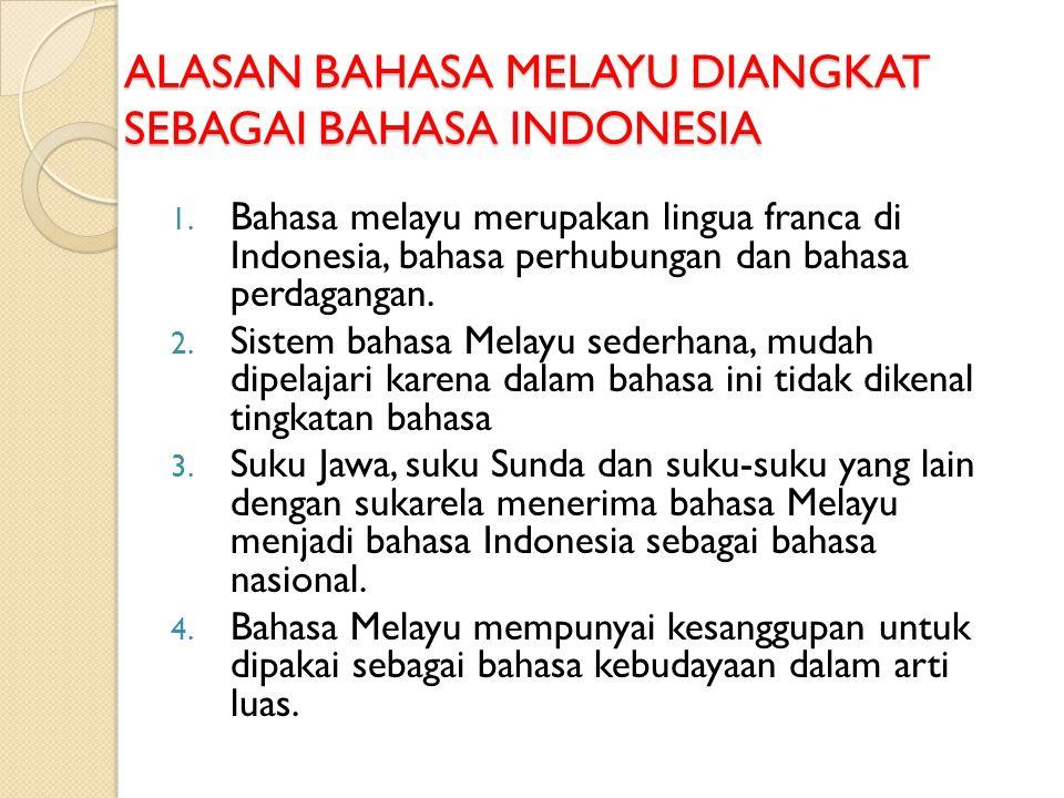 ALASAN BAHASA MELAYU DIANGKAT SEBAGAI BAHASA INDONESIA