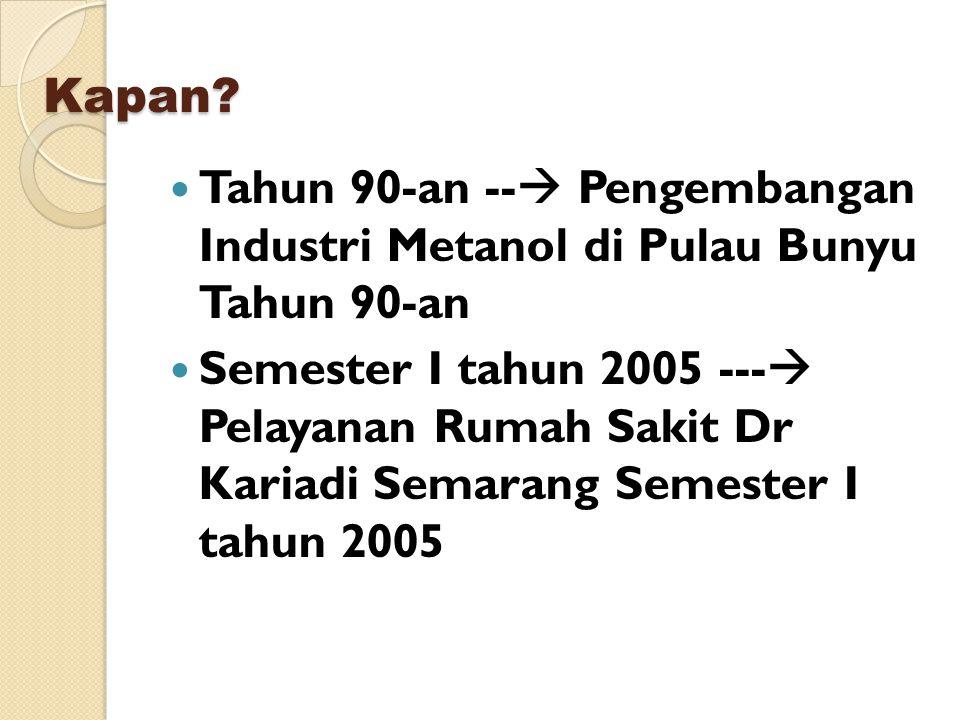 Kapan Tahun 90-an -- Pengembangan Industri Metanol di Pulau Bunyu Tahun 90-an.