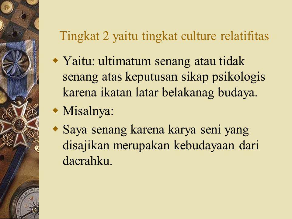 Tingkat 2 yaitu tingkat culture relatifitas