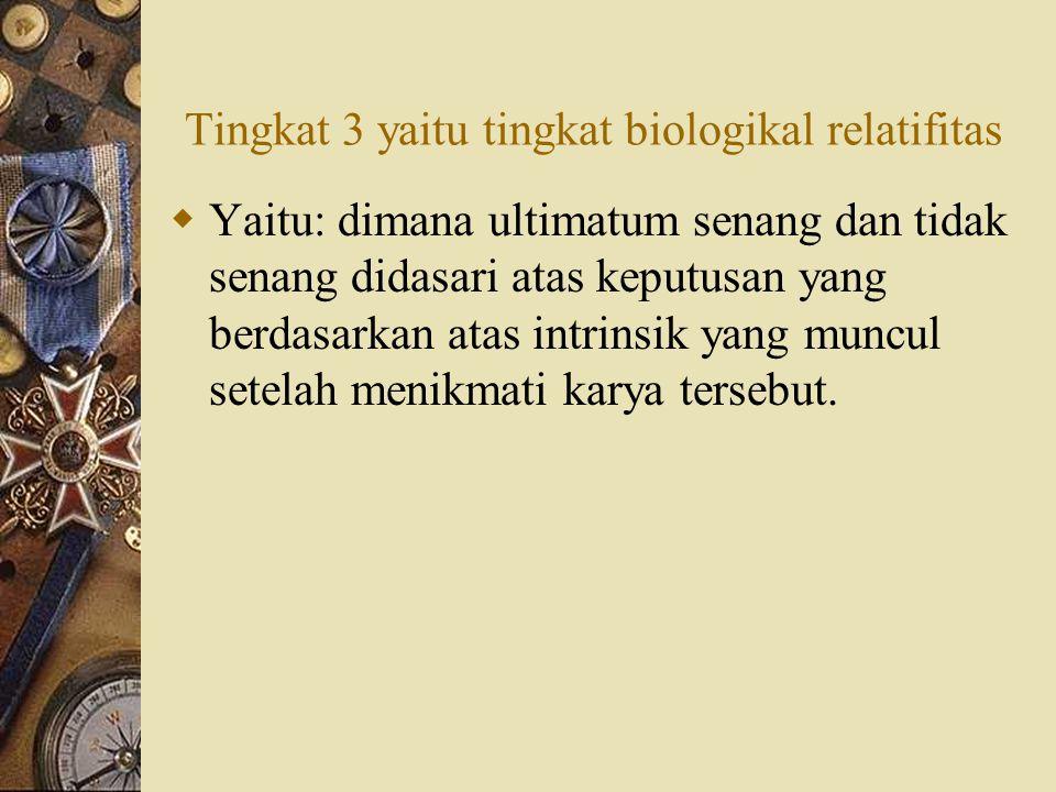 Tingkat 3 yaitu tingkat biologikal relatifitas
