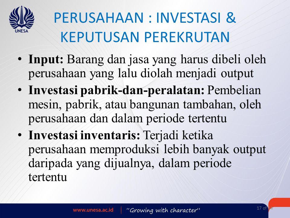 PERUSAHAAN : INVESTASI & KEPUTUSAN PEREKRUTAN