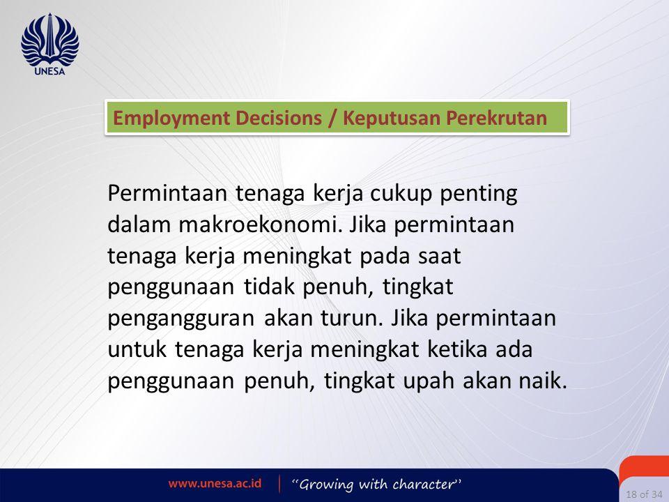Employment Decisions / Keputusan Perekrutan