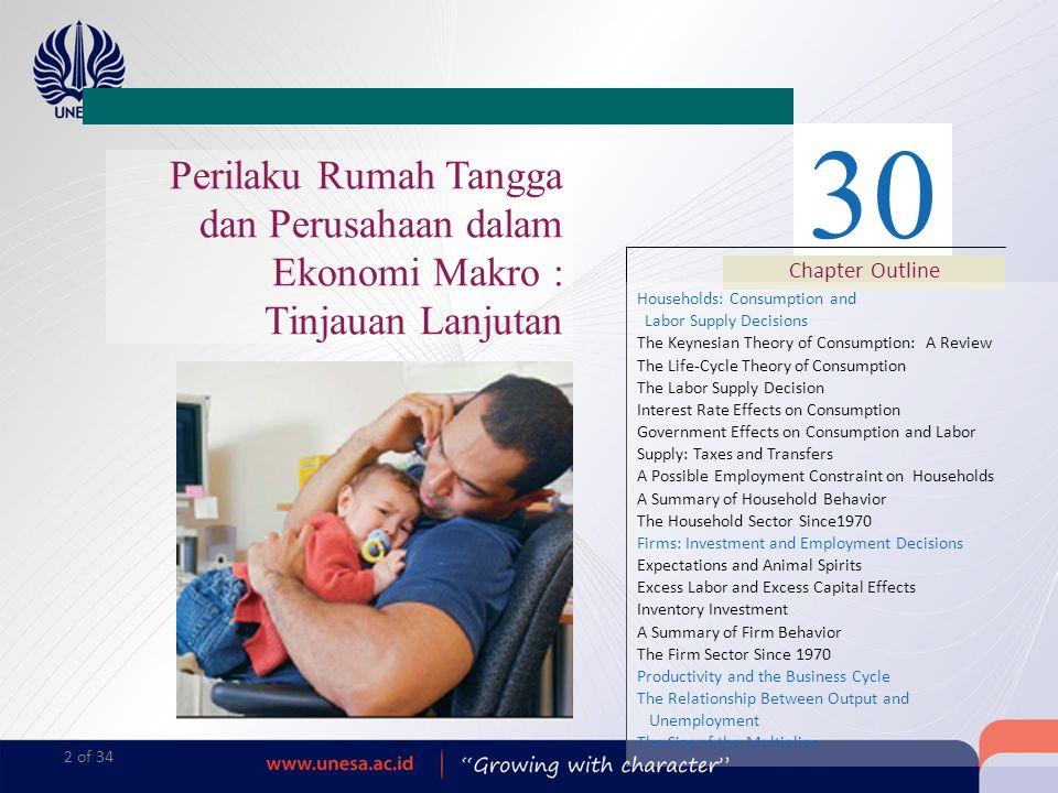 30 Perilaku Rumah Tangga dan Perusahaan dalam Ekonomi Makro : Tinjauan Lanjutan. Chapter Outline.