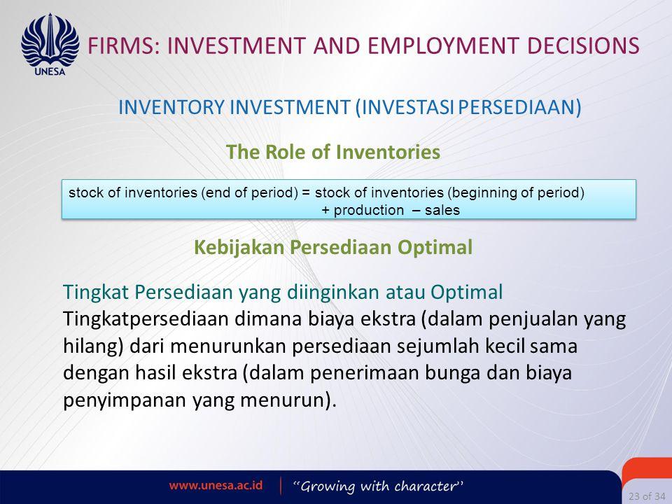 The Role of Inventories Kebijakan Persediaan Optimal
