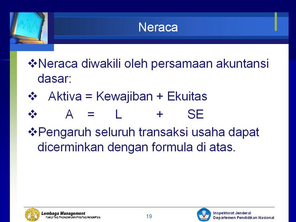 Neraca Neraca : adalah media pelaporan yang melaporkan posisi keuangan pada waktu tertentu. Bagian dari Neraca :