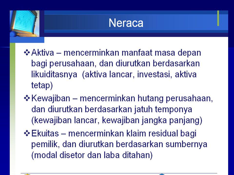 Lanjutan neraca Neraca diwakili dengan persamaan matematis: