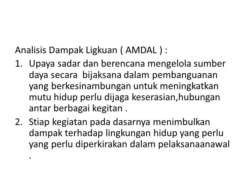 Analisis Dampak Ligkuan ( AMDAL ) :