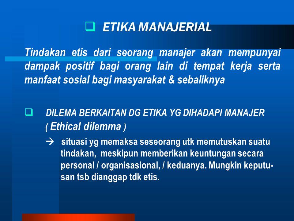 DILEMA BERKAITAN DG ETIKA YG DIHADAPI MANAJER ( Ethical dilemma )