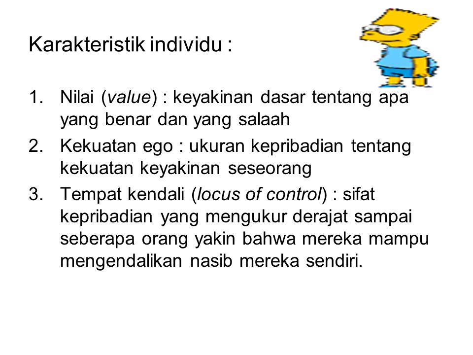 Karakteristik individu :