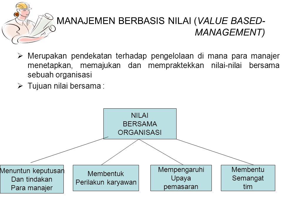 MANAJEMEN BERBASIS NILAI (VALUE BASED-MANAGEMENT)